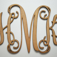 "Home Decor, 24"" or 32"" Wooden Monogram, Wall Art, Initial monogram,Unpainted, Unfinished,Wedding Decor"