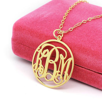 KBM style monogram golden necklace-popular gift name pendant monogram necklace