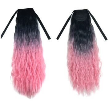 Wig Horsetail Gradient Ramp Corn Hot     black charry pink A1BT2311#