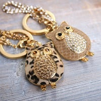 Owl Keychian Keyholder Bag Charms Leather Peopard with Crystal Chain