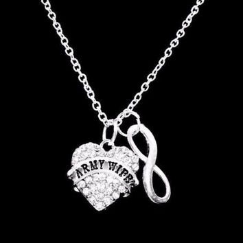 Infinity Crystal Army Wife Gift Occupational Necklace