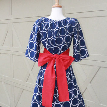 Navy Blue Circles Day Dress With Red Belt xs s m l xl xxl xxxl