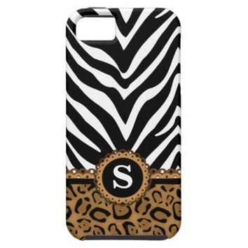 Zebra and Leopard Print Monogram iPhone4 Case Iphone 5 Cases from Zazzle.com