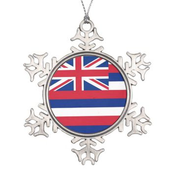 Snowflake Ornament with Hawaii Flag