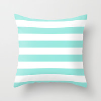 Stripe Tiffany Blue Bold Horizontal Throw Pillow by Beautiful Homes