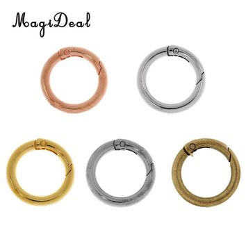 MagiDeal Light Weight 5 Pieces 28mm Alloy Round Carabiners Camping Spring Clip Keychain Circle Carabiner for Camping Hiking