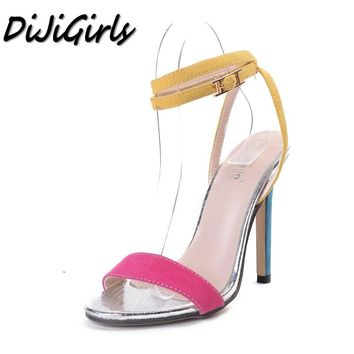DiJiGirls summer New Sexy Open toe women's high heels shoes woman Mixed Colors Cross Buckle Strap pumps Thin heel sandals shoes