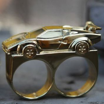 Dope Couture - Gold Lambo Two Finger Ring - Jewelry, Accessories, Dope Couture - KNYEW Clothing Boutique