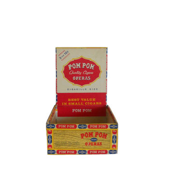 Vintage Cigar Box 1950's Pom Poms Opera Cigars Small Square Box - Office or Home Decor Item - Bright Yellow Red and Navy