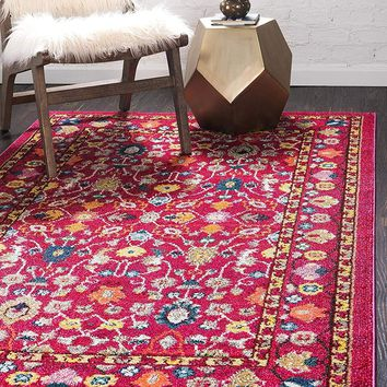 5129 Pink Floral Oriental Area Rugs