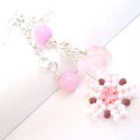 Beaded Pink Cherry Blossom Dust Plug, Dangle Cell Phone Charm
