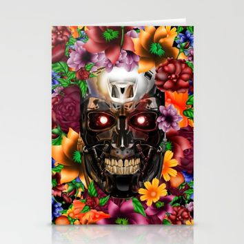 Sugar Chrome skull terminator face iPhone 4 4s 5 5s 5c, ipod, ipad, pillow case and tshirt Stationery Cards by Three Second