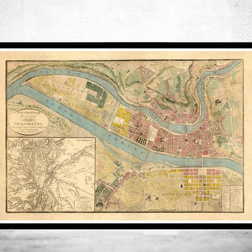 Old Map of Lyon  France 1821