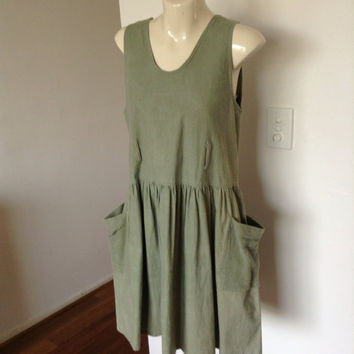 Vintage 80s 90s khaki cotton chambray smock tunic dress front pockets ruffle skirt sz 10-12