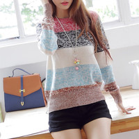 Mixed Color Stripes Sweater for Women from threelittlebirds