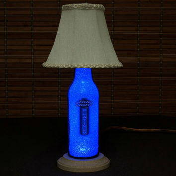 "Bud Platinum Beer Bottle Lamp/Light- W/ Shade VIDEO DEMO /11 year LED - Intense Blue Glow /""Diamond Like"" Glass Crystals / FathersDay"