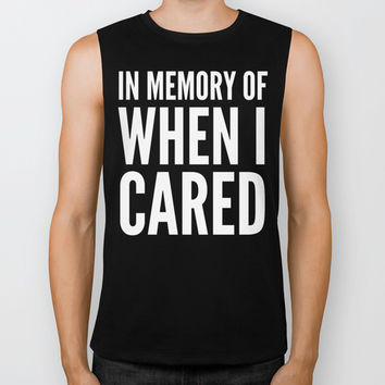IN MEMORY OF WHEN I CARED (Black & White) Biker Tank by CreativeAngel | Society6