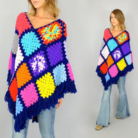 70's Afghan GRANNY SQAURE rainbow hippy bohemian gypsy Fringed PONCHO sweater, extra small-medium