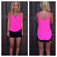 Electric Pink Wrapped Up Tank