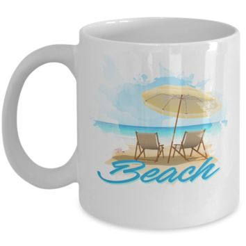 Beach Life Lover Umbrella Chairs Water Coffee Mug