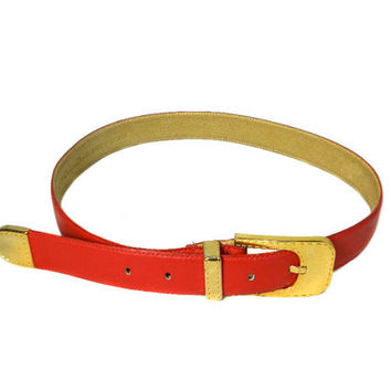 1980s Christian Dior Leather Belt / Red Gold / Waist Cinch / Vintage Accessories / Size M/L