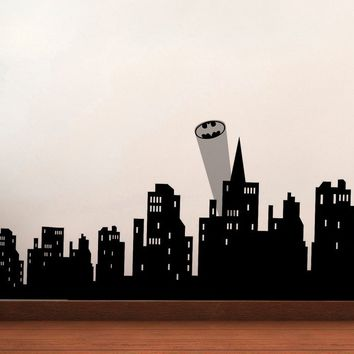 Gotham Skyline Vinyl Wall Decal Batman Super Hero Avengers Buildings