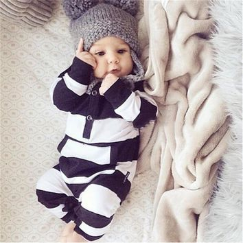Black & White Striped Jumpsuit for Baby