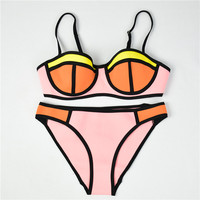 Women Patchwork Color Neoprene Bikini Set Sexy Push Up Bathing Suit
