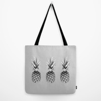 August special! Tote bag Lunch bag Sober gray tote bag with print of pineapples