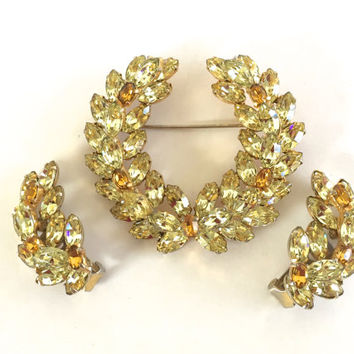 CHRISTIAN DIOR by KRAMER Swarovski Crystal Rhinestone Parure Brooch and Earrings - Collectible Spectacular High End 1950s Vintage