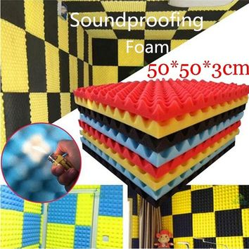 1PC Thick Absorption Acoustic Soundproof Sound Thick Absorption Pyramid Studio Foam Board 50*50*3cm