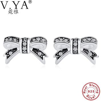 V.YA Luxury Jewelry 100% 925 Sterling Silver Sparkling Bow Stud Earrings With Clear CZ Women Party Delicate Girls Earrings Gifts