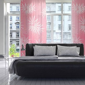 "Julia Grifol ""Paradise Flowers"" Pink White Vector Decorative Sheer Curtain"