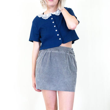 vtg 90s grey corduroy mini skirt, gray kawaii fashion, 1990s vintage arthoe, urban outfitters american apparel tumblr, vaporwave aesthetic