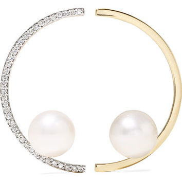Mateo - 14-karat gold, pearl and diamond earrings