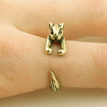 Animal Wrap Ring - Squirrel / Chipmunk - Bronze - Adjustable Ring - keja jewelry