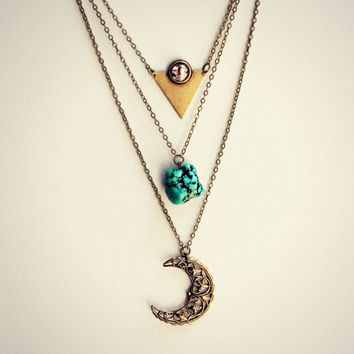 triangle moon layer necklace, triangle necklace, opal necklace, turquoise necklace, triple necklace