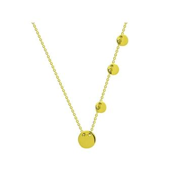 """Engravable Sliding Gold Discs Necklace in Sterling Silver 16"""" + 2"""" extension"""