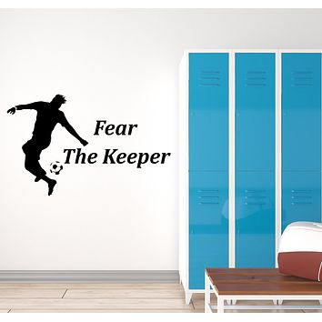 Vinyl Wall Decal Soccer Quote for Children Room Silhouette Player Sports Art Stickers Mural (ig6137)