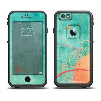 The Vintage Green Grunge Texture with Orange Apple iPhone 6 LifeProof Fre Case Skin Set