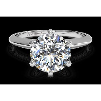 18K White Gold 2CT Round Cut Moissanite Diamond Solitaire Engagement Ring