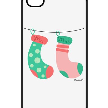 Cute Mr and Mrs Christmas Couple Stockings iPhone 4 / 4S Case  by TooLoud