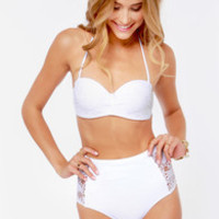 Water Gypsy White Lace High-Waisted Bustier Bikini