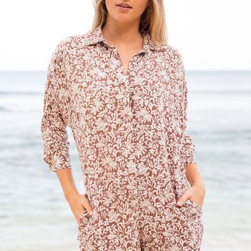 ACACIA Swimwear 2019 Kapaa Silk Jumper in Brown Batik