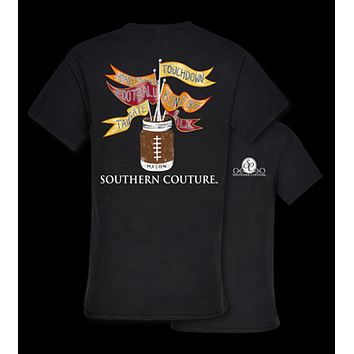 Southern Couture Football Flags Mason Jar Fall Tailgate Sports Girlie Bright T Shirt