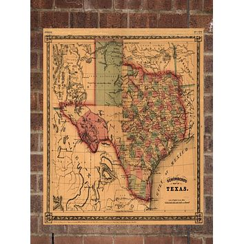 Vintage Texas Print, Aerial Texas Photo, Vintage TX Pic, Old Texas Photo, Texas Poster, 1866