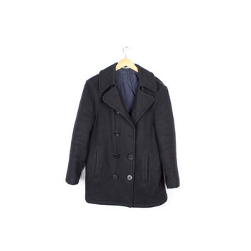 mens black wool double breasted bayswater peacoat / small - medium