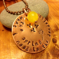 Hunger Games Dandelion in Spring Necklace Copper Washer