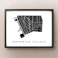 Greenwich Village Map - Manhattan, NYC Neighbouhood Art Print