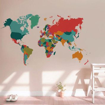 Colored World Map Wall Decals